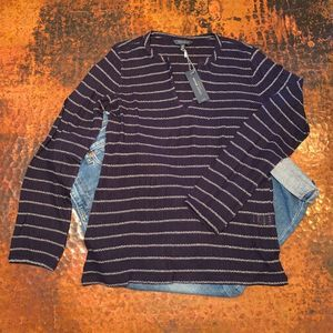 NWT Lucky Brand Navy/White Stripe Peasant Shirt